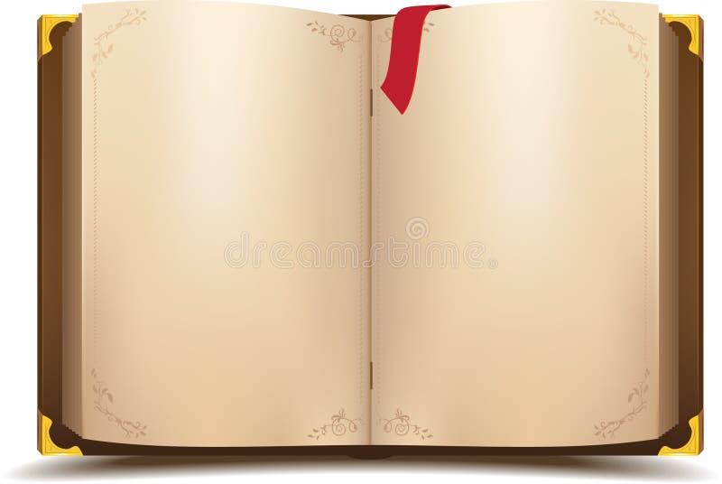 Vecchio libro magico aperto illustrazione di stock