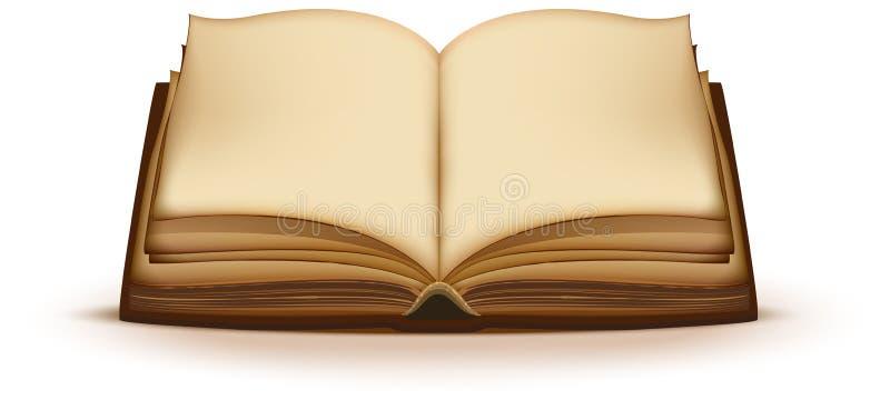 Vecchio libro magico aperto con le pagine in bianco illustrazione vettoriale