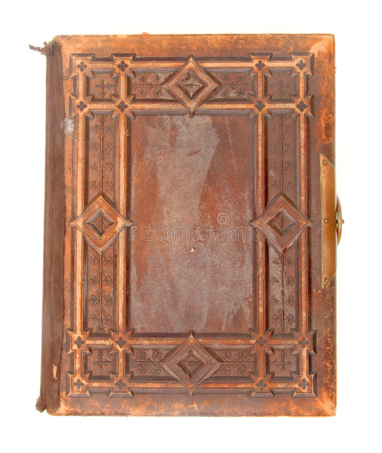Vecchio libro rilegato di cuoio immagine stock