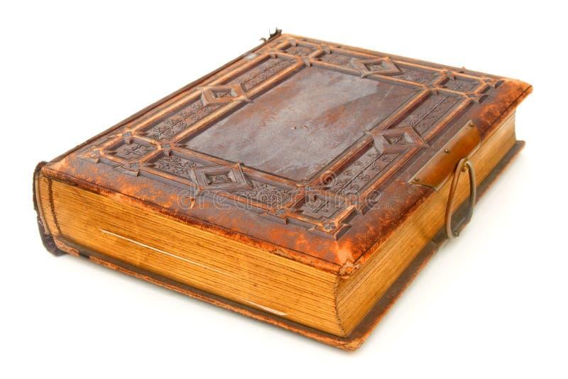 Vecchio libro rilegato di cuoio fotografia stock