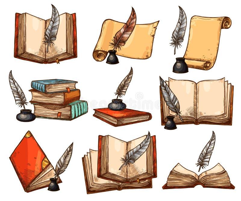 Vecchio libro, rotolo di carta ed insieme di schizzo della penna della piuma illustrazione vettoriale