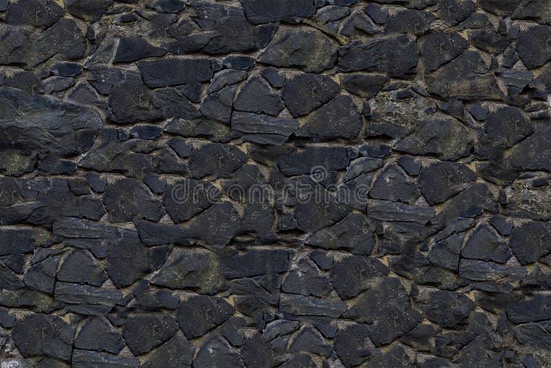 Vecchio liscio di pietra grigio scuro della tela dell'ardesia del fondo composto di mattonelle fotografia stock