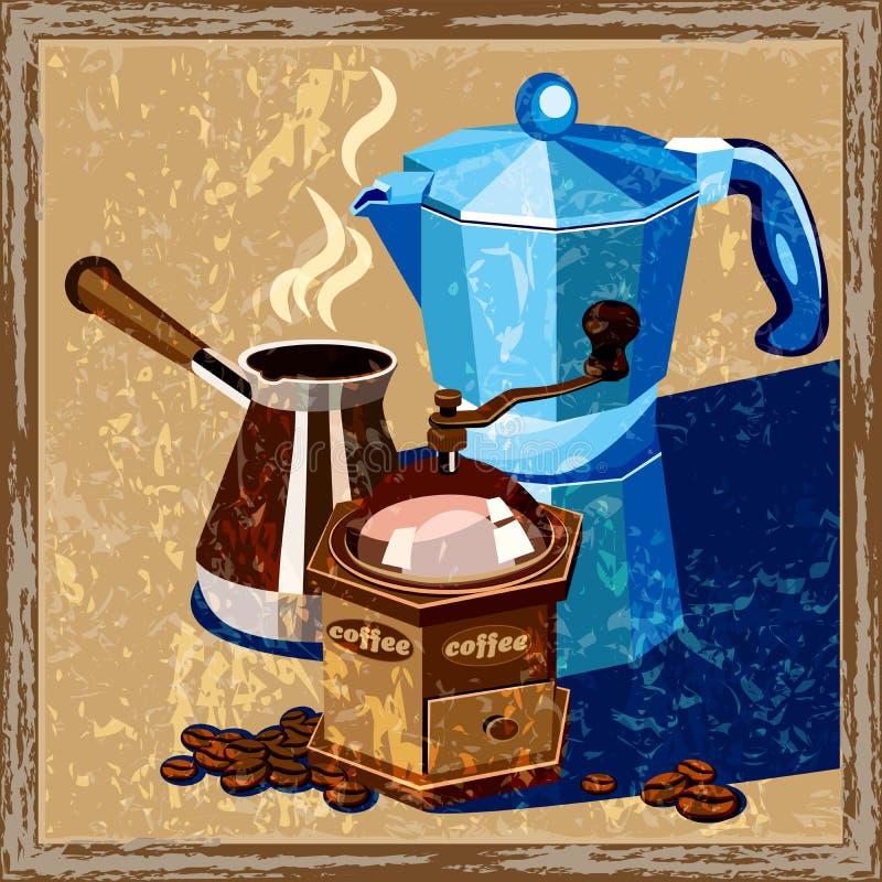 Vecchio manifesto del caffè classico royalty illustrazione gratis