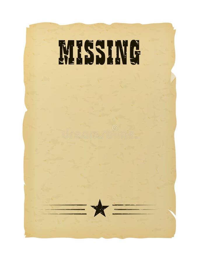Vecchio manifesto di carta mancante strappato illustrazione di stock