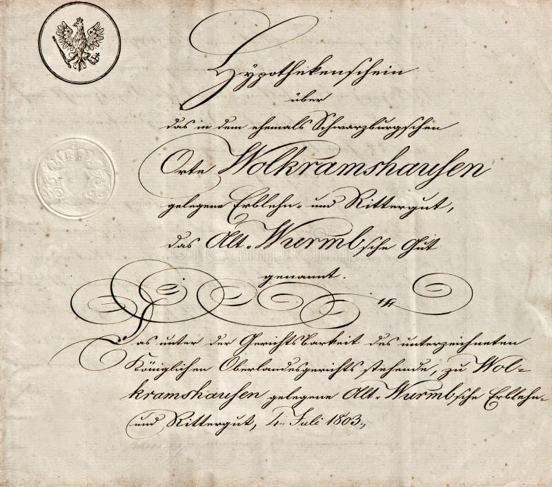 Vecchio manoscritto con testo scritto a mano calligrafico immagini stock