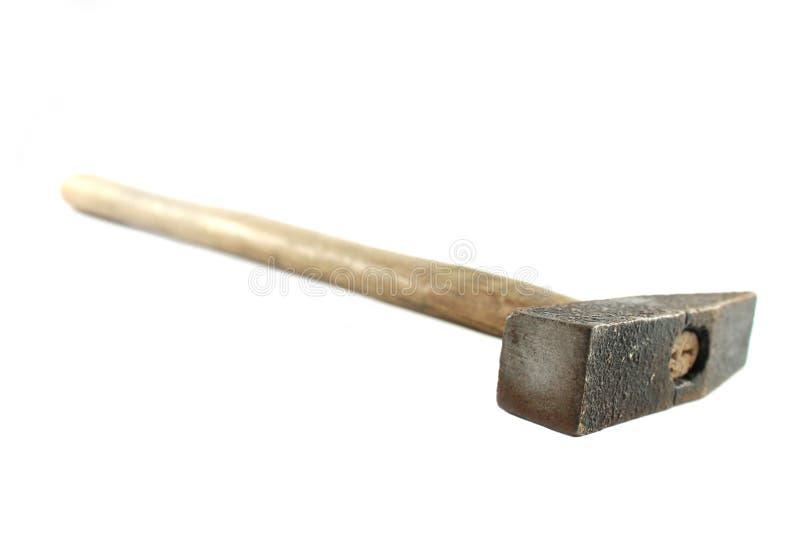 Vecchio martello su fondo bianco immagini stock