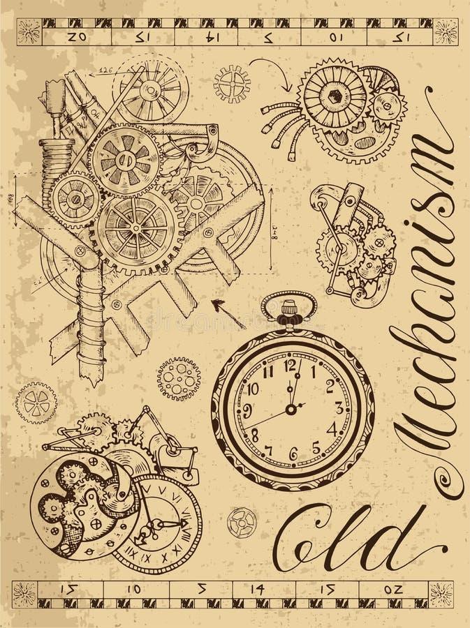 Vecchio meccanismo dell'orologio nello stile dello steampunk illustrazione di stock