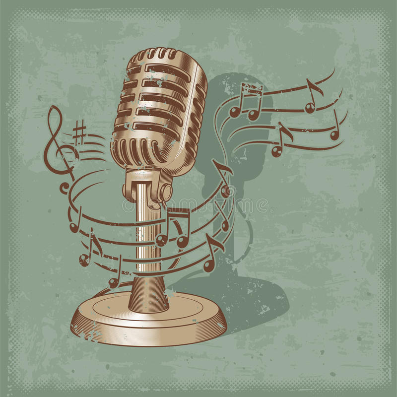 Vecchio microfono fatto nello stile di lerciume royalty illustrazione gratis