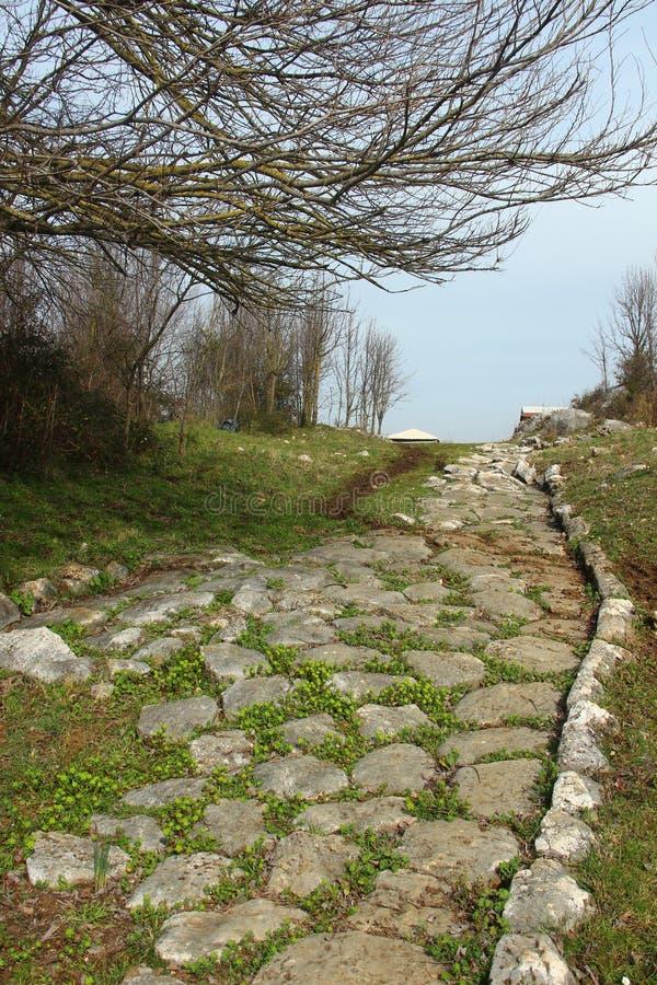 Vecchio modo di Nomentum-Eretum in Italia fotografia stock
