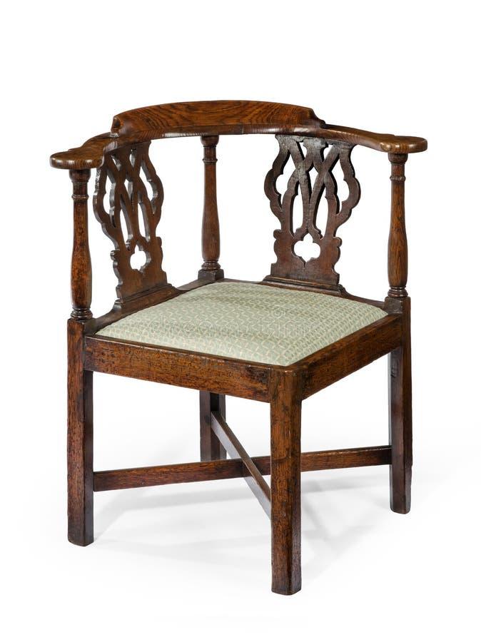 Vecchio mogano di legno antico della sedia d'angolo fotografia stock libera da diritti