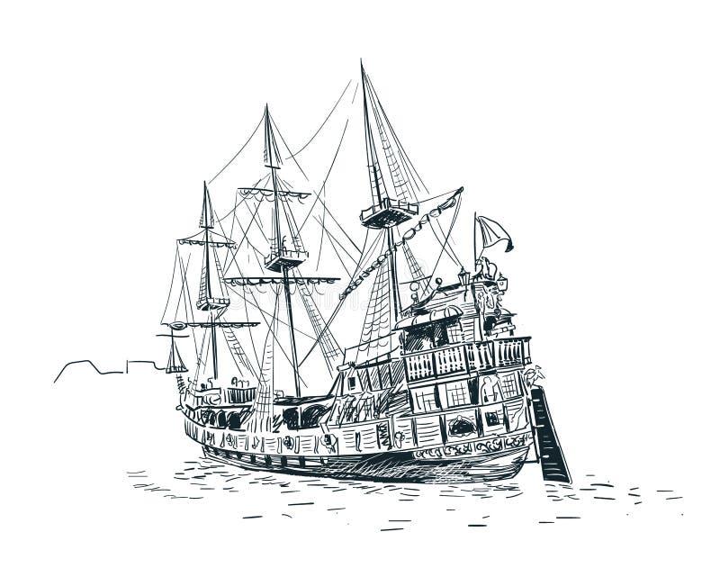 Vecchio monocromio di Danzica dell'illustrazione di schizzo di vettore della nave royalty illustrazione gratis