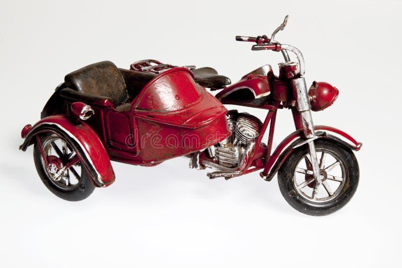 Vecchio motociclo con il sidecar fotografia stock