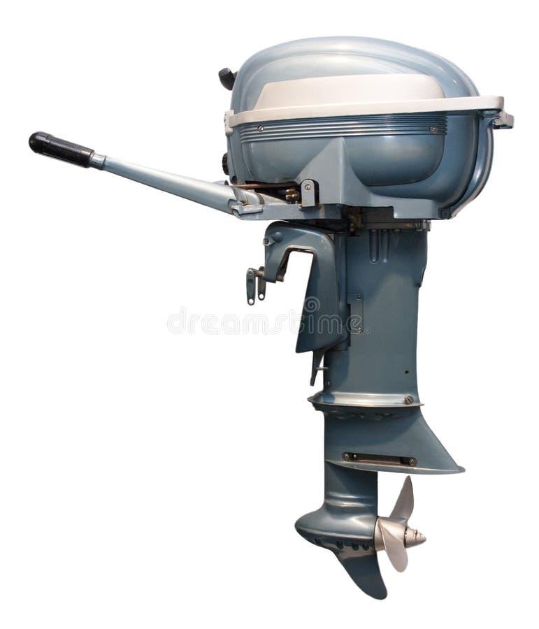 Vecchio motore del motore della barca esterna dell'annata isolato fotografie stock libere da diritti