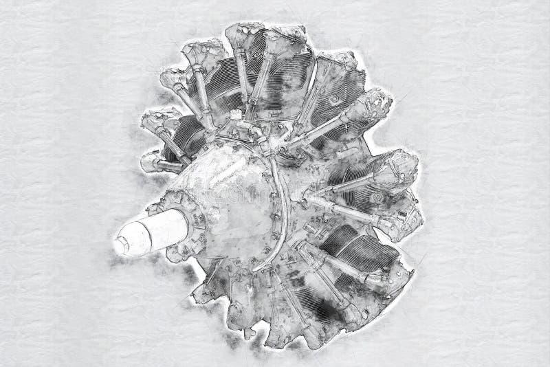 Vecchio motore dell'aeroplano royalty illustrazione gratis