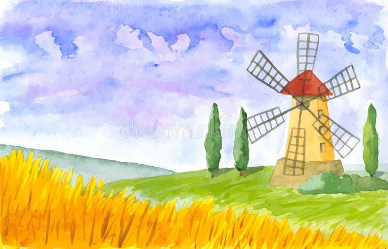Vecchio mulino a vento watercolor Vettore immagini stock