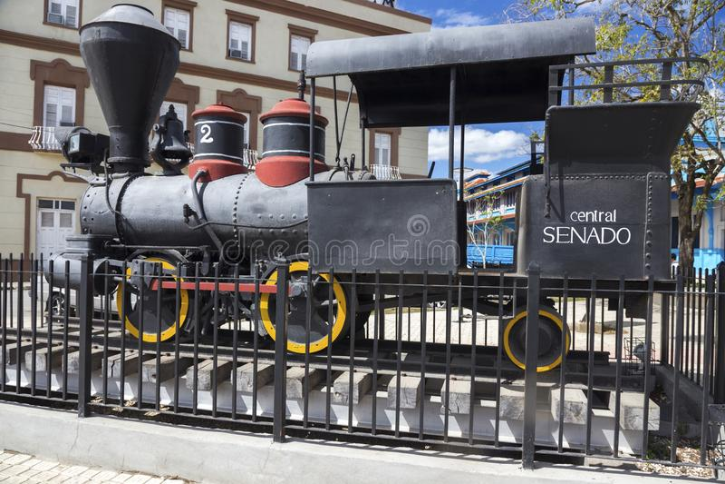 Vecchio museo locomotivo Camaguey Cuba di Exhibit Outdoor Rail del modello del motore a vapore della ferrovia immagini stock libere da diritti
