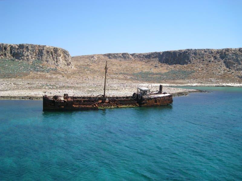 Vecchio naufragio Crete, Grecia fotografia stock libera da diritti