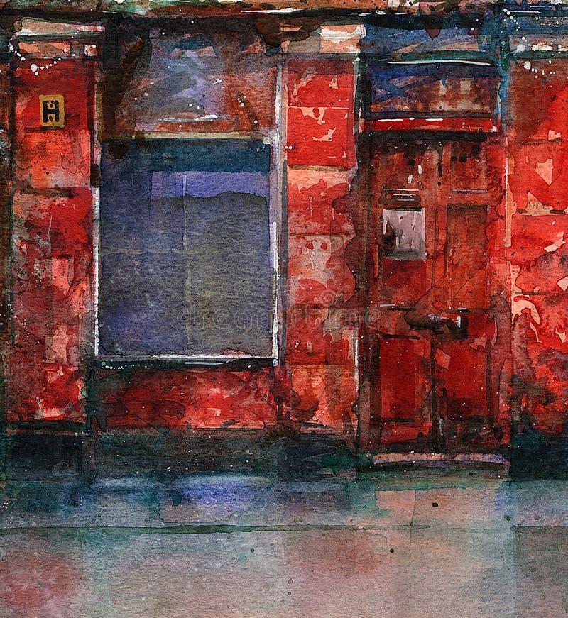 Vecchio negozio rosso illustrazione vettoriale