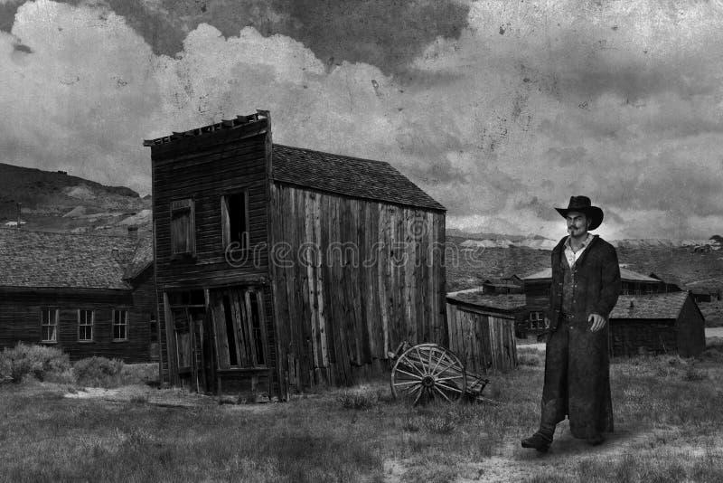Vecchio Occidente Americano, Cowboy, Foto Vintage fotografie stock libere da diritti