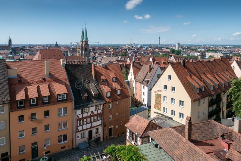 Vecchio orizzonte della città di Norimberga fotografie stock libere da diritti