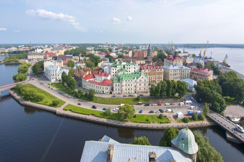 Vecchio orizzonte della città di Vyborg, Russia fotografie stock libere da diritti
