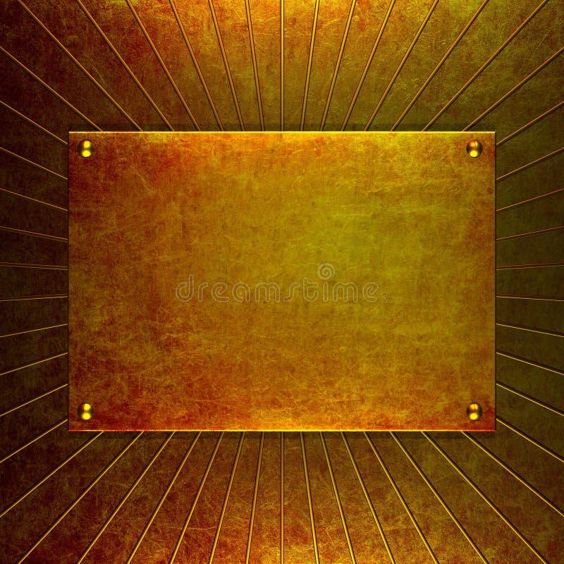 Vecchio oro del grunge di piastra metallica illustrazione vettoriale