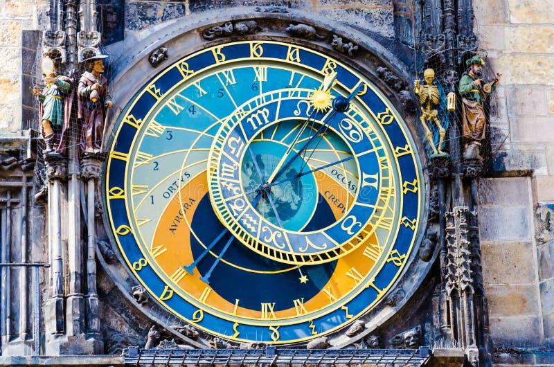 Vecchio orologio astronomico medievale Orloj fotografia stock libera da diritti