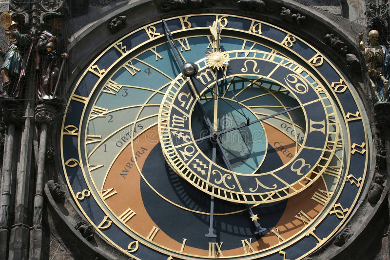 Vecchio orologio astronomico a Praga fotografie stock