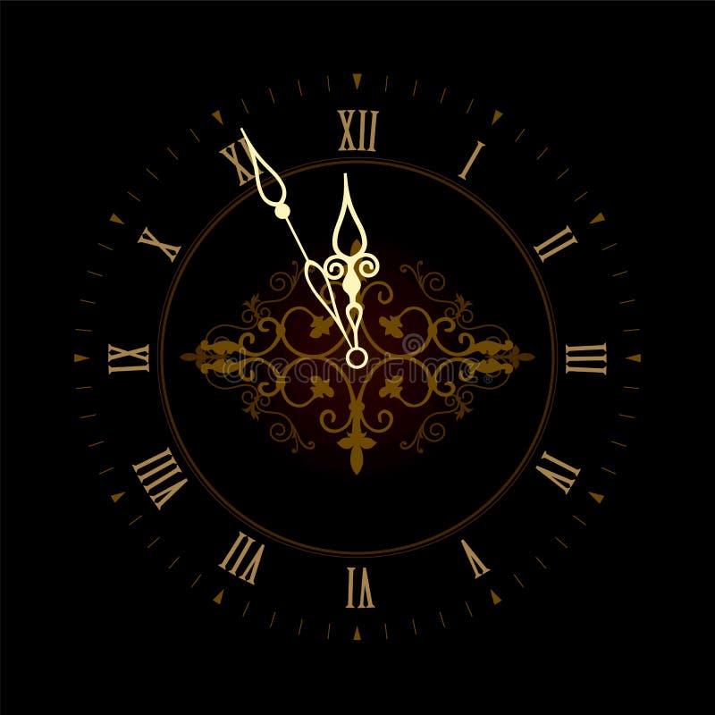 Vecchio orologio con i numeri romani illustrazione vettoriale