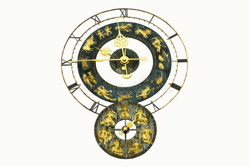 Vecchio orologio con i segni dello zodiaco immagine stock