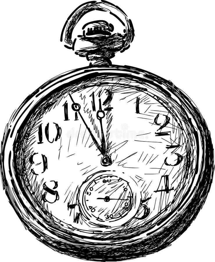 Vecchio orologio da tasca illustrazione di stock