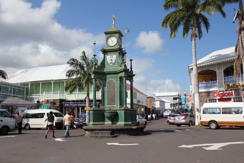Vecchio orologio della città, Basseterre, st San Cristobal fotografia stock
