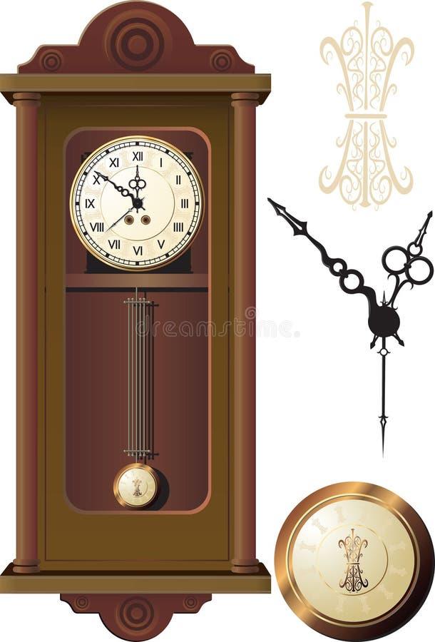 Vecchio orologio di parete illustrazione vettoriale