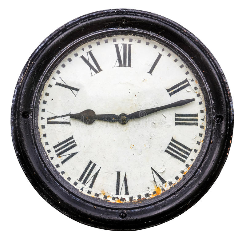 Vecchio orologio rustico isolato della stazione fotografie stock