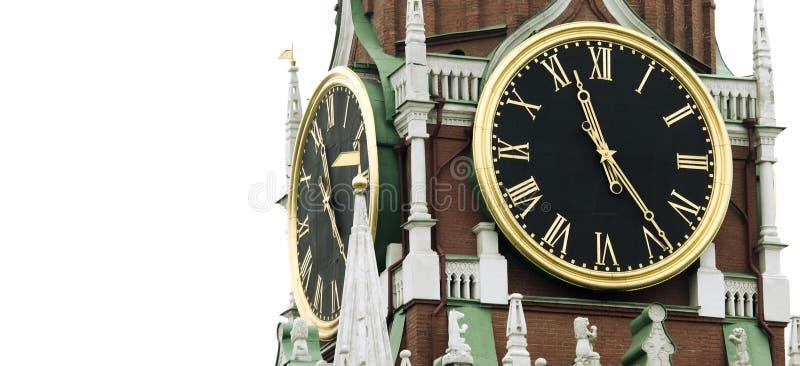 Vecchio orologio sulla torretta (Russia, carillon del kremlin) fotografia stock