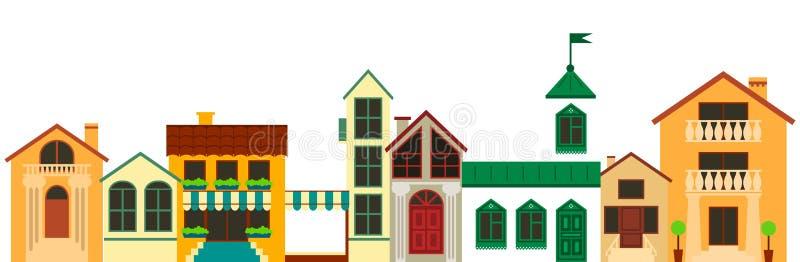 Vecchio paesaggio europeo della città Illustrazione variopinta delle case di vettore royalty illustrazione gratis