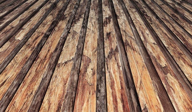 Vecchio paesaggio laminato di legno a fiocchi incrinato stagionato del contesto di lerciume delle tavole di pavimento immagini stock