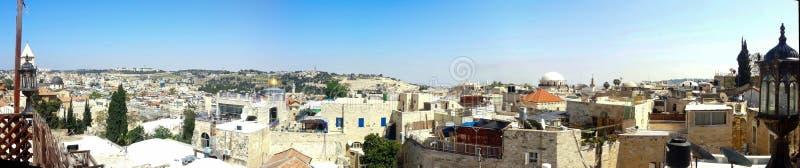 Vecchio panorama della città di Gerusalemme fotografie stock libere da diritti
