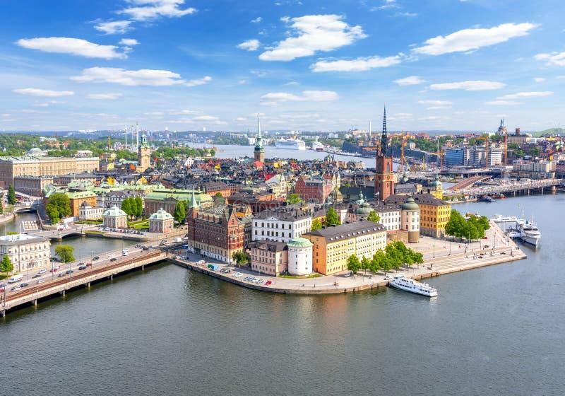 Vecchio panorama di Gamla Stan della citt? di Stoccolma dalla cima del comune, Svezia immagine stock libera da diritti