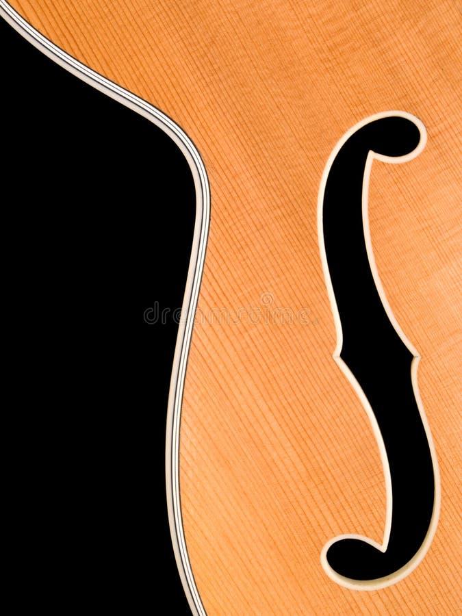 Vecchio particolare della chitarra di jazz del archtop fotografia stock
