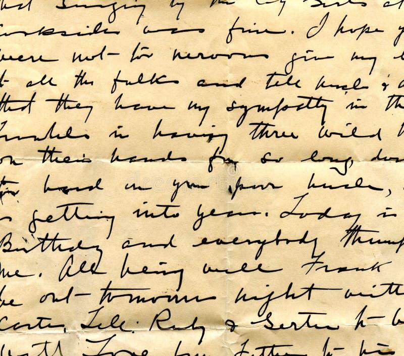 Vecchio particolare della scrittura a mano della lettera immagine stock