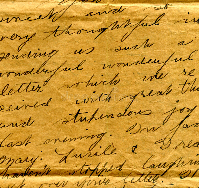 Vecchio particolare della scrittura a mano della lettera immagine stock libera da diritti