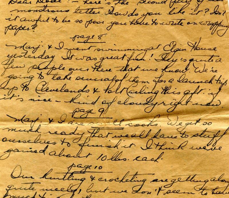 Vecchio particolare della scrittura a mano della lettera fotografie stock libere da diritti