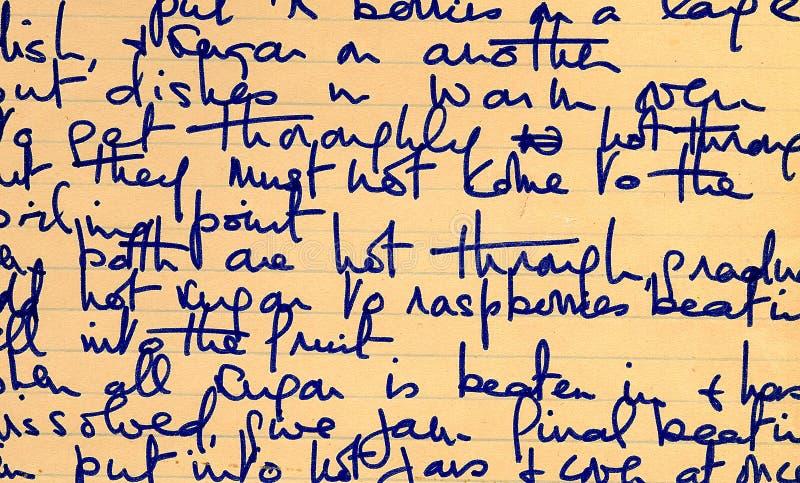 Vecchio particolare della scrittura a mano di ricetta immagini stock libere da diritti