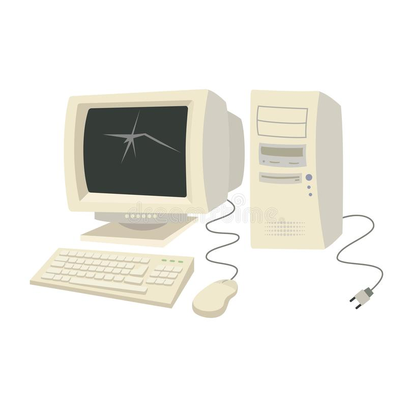 Vecchio personal computer con la tastiera ed il topo royalty illustrazione gratis