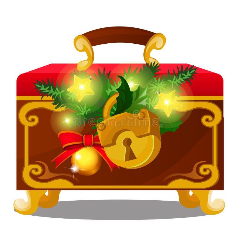 Vecchio petto con il lucchetto decorato con i ramoscelli delle bagattelle attillate e dorate isolate su fondo bianco Schizzo del  illustrazione di stock