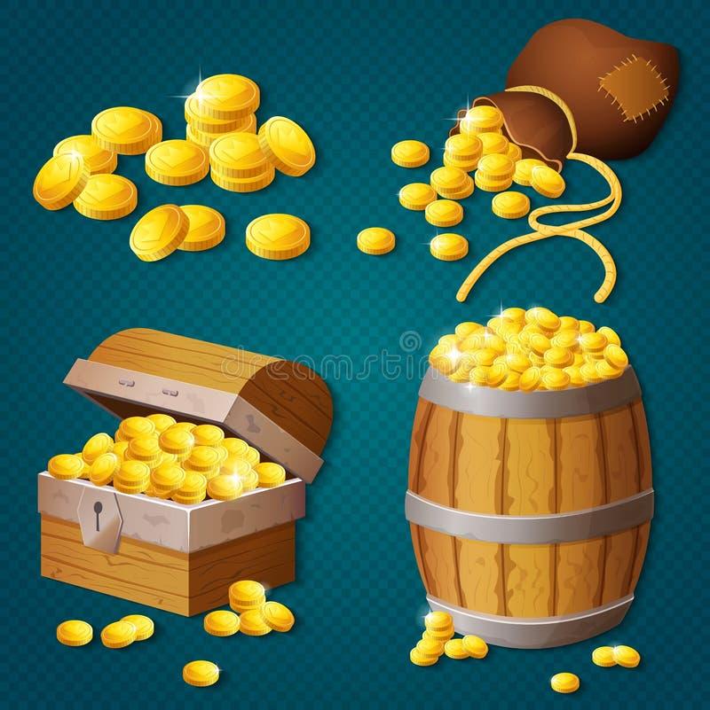 Vecchio petto di legno, barilotto, vecchia borsa con le monete di oro Illustrazione di vettore del tesoro di stile del gioco illustrazione vettoriale