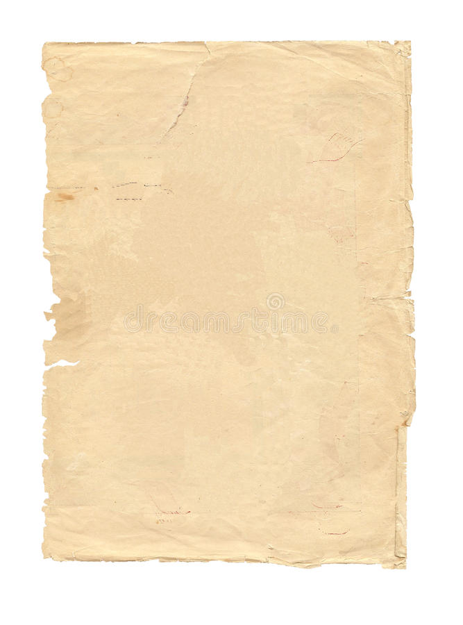 Vecchio pezzo di carta isolato fotografie stock