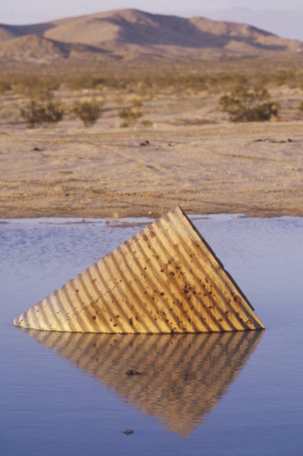 Vecchio pezzo di metallo in acqua, Death Valley, California immagine stock