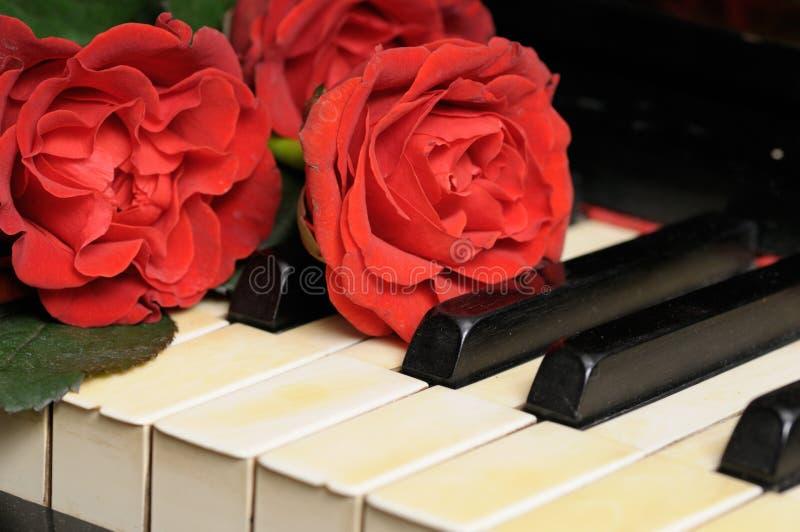 Vecchio piano con le rose rosse fotografie stock